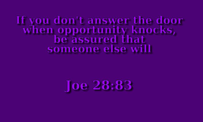 Tao of Joe: I hear you knockin'