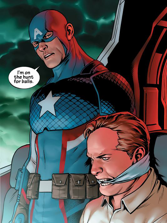 This is a work of parody. Capt. is not actually on a hunt for balls. Captain America is copyright and trademark Disney.